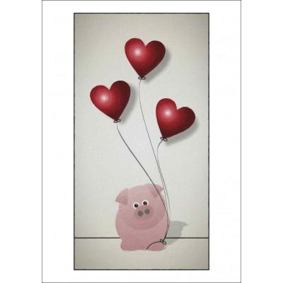 Little Piggy & Balloon - A4 Print