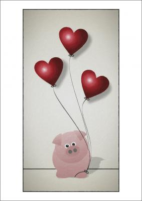 Little Piggy & Balloon - A4 Print