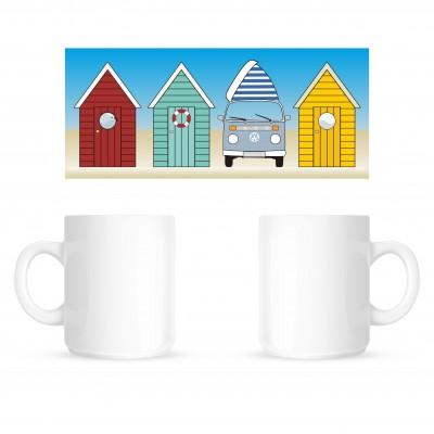 Beach Huts Wrap - Coffee Mug