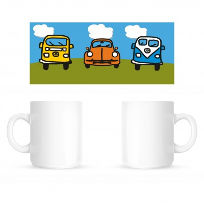 Cartoon VW's Wrap - Coffee Mug