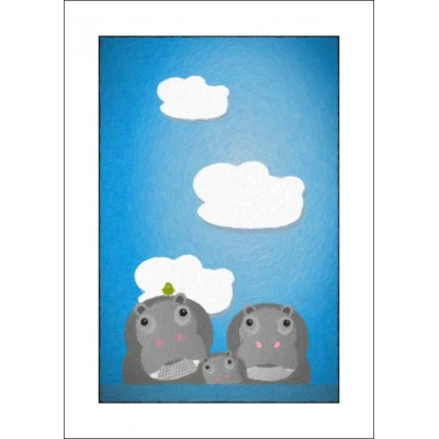 Happy Hippos - A4 Print