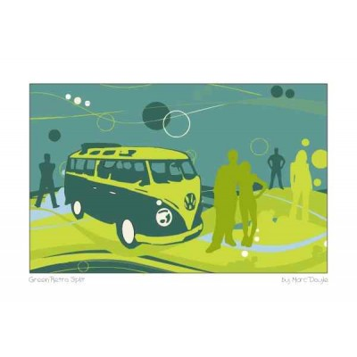 Retro Green Split - A3 Print