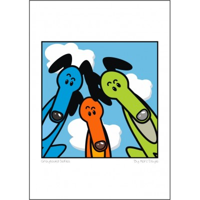 Greyhound Selfie - A3 Print