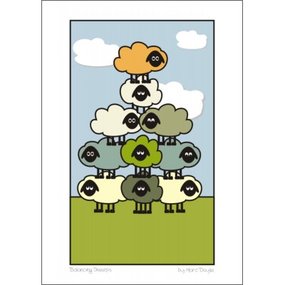 Acrobatic Sheep - A3 Print